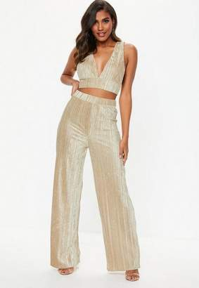 Missguided Champagne Crushed Velvet Wide Leg Pants