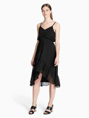 Calvin Klein chiffon ruffle high-low dress