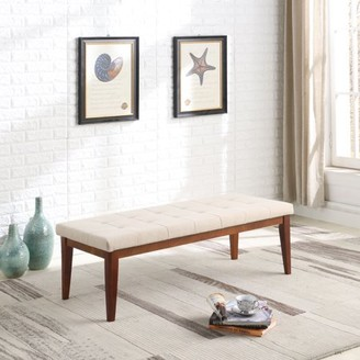 """Ore International 16.5"""" in Cream Tufted Mid-Century Bench with Maple Wooden Legs"""