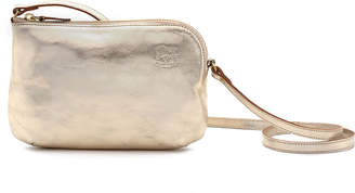 Il Bisonte Metallic Leather Zip Crossbody Bag, Champagne