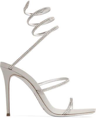 Rene Caovilla Snake Crystal-embellished Metallic Leather Sandals - Silver