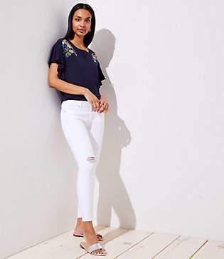 LOFT Petite Curvy Destructed Skinny Crop Jeans in White
