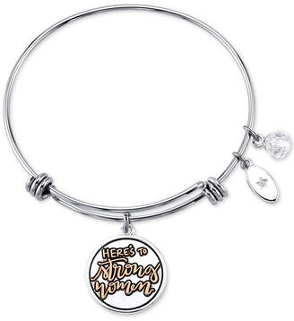 """Unwritten Here's to Strong Women"""" Charm Bangle Bracelet in Stainless Steel and Gold-Tone"""