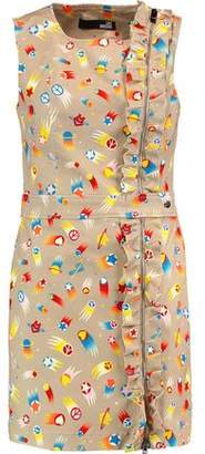 Love Moschino Ruffled Printed Stretch-Cotton Mini Dress