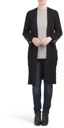 Ribbed Duster With Button Sleeve