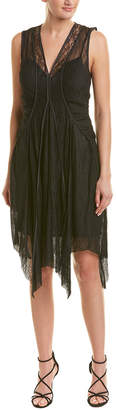 BCBGMAXAZRIA Asymmetrical Lace Shift Dress