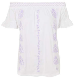 George White Embroidered Bardot Top