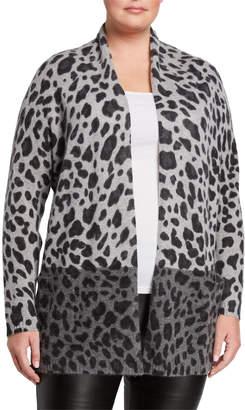 Neiman Marcus Plus Plus Size Cashmere Leopard-Print Open Cardigan with Pockets