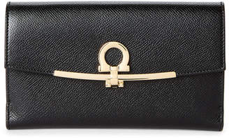 Salvatore Ferragamo Black Double Gancio Long Wallet