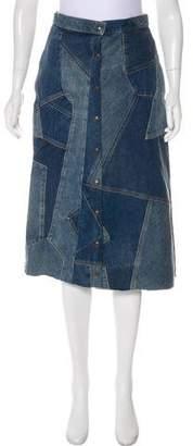 Saint Laurent Denim Patchwork Skirt