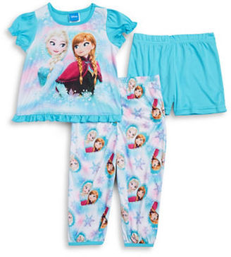Ame Sleepwear Little Girls Frozen Pajama Tee, Shorts and Pants Set $36 thestylecure.com