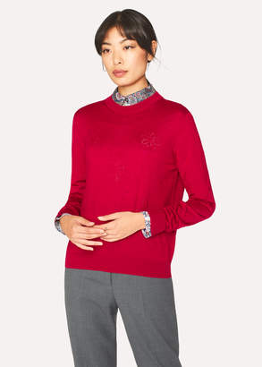 Paul Smith Women's Red Wool-Silk Openwork-Knit Sweater