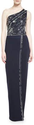 St. John Matte Shine Milano Knit One-Shoulder Gown