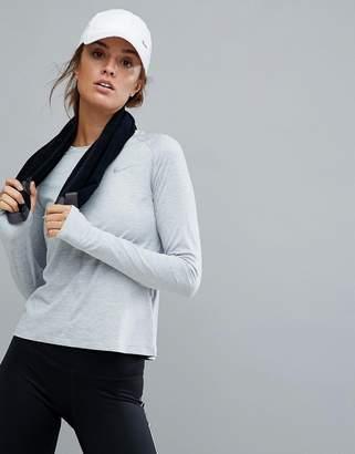 Nike Running Element Long Sleeve Top In Grey