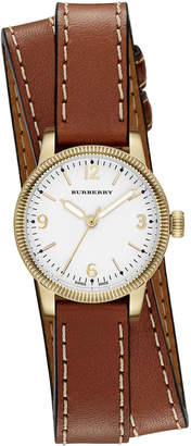 Burberry 30mm Utilitarian Double-Wrap Watch, Golden/Tan