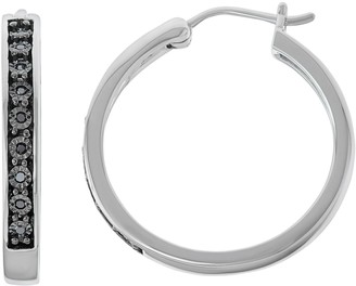 Sterling Silver 1/10 Carat T.W. Black Diamond Hoop Earrings