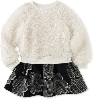 Calvin Klein Little Girls' Faux-Fur Jacquard Dress $44 thestylecure.com