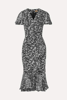 Michael Kors Wrap-effect Chiffon-trimmed Floral-print Crepe Midi Dress - Black