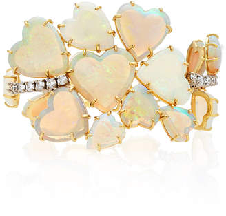 Irene Neuwirth One-Of-A-Kind 18K Gold Carved Opal Hearts And Diamond Bracelet