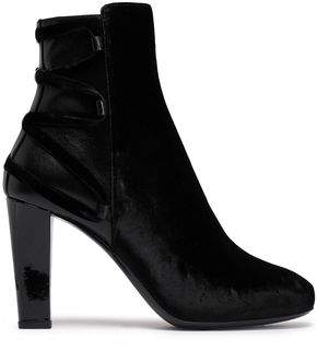 Lanvin Lace-Up Velvet And Leather Ankle Boots