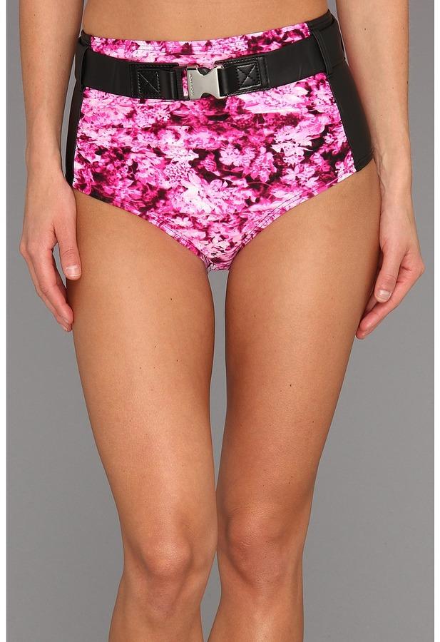 MICHAEL Michael Kors Chatsworth Floral Color Block Retro High Waisted Bottom w/ Belt (Neon Pink) - Apparel