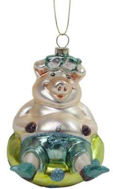 The Christmas Boutique Floating Pig In A Rubber Ring Glass Christmas Tree Bauble Novelty Decoration