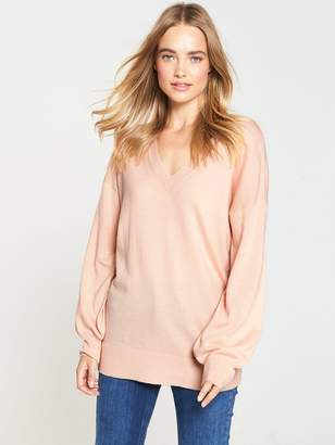 Very V-Neck Blouson Sleeve Slouch Jumper - Soft Pink