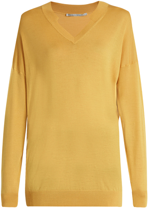STELLA MCCARTNEY V-neck oversized wool and silk-blend sweater $494 thestylecure.com