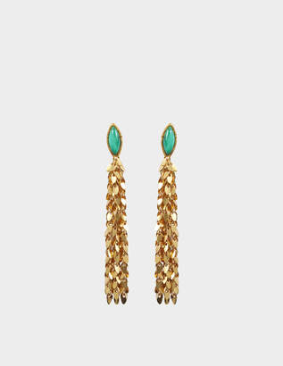 Sylvia Toledano Leaves Earrings in Gold-Plated Brass with Malachite