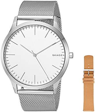 Skagen Men's 'Jorn' Quartz Stainless Steel and Leather Casual Watch