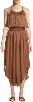 Halston Smocked-Waist Sleeveless Dress