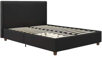 ec79b30cbd39 Better Homes & Gardens Chambers Upholstered Black Faux Leather Bed with  Nailheads, Multiple Sizes