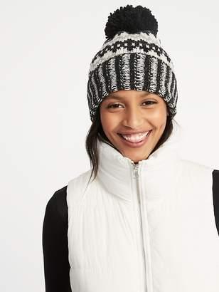 Old Navy Printed Sweater-Knit Pom-Pom Beanie for Women