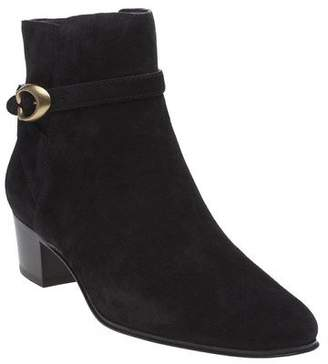 Coach New Womens Black Chrystie Suede Boots Ankle Buckle Zip