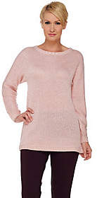 Halston H by Long Sleeve Sequined Yarn Sweater
