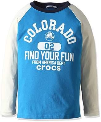 Crocs (クロックス) - (クロックス)CROCS ラグラン切替ロングTシャツ 117108 BL ブルー 110