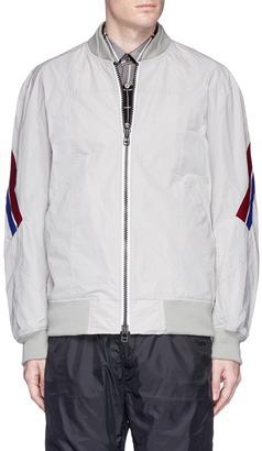 Stripe rib trim bomber jacket