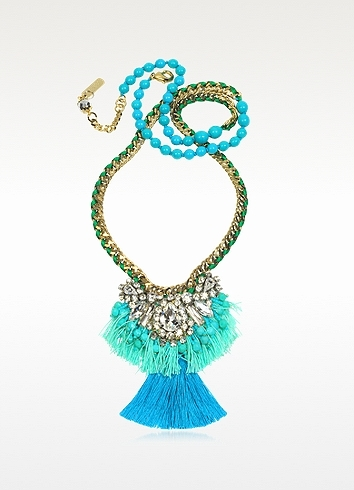 Rada' Radà Emerald Green and Turquoise Long Necklace