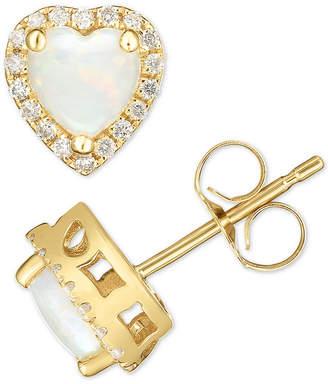 Macy's Opal (1/2 ct. t.w.) & Diamond (1/6 ct. t.w.) Heart Halo Stud Earrings