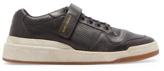 Saint Laurent Sl24 Perforated Leather Low Top Trainers - Mens - Black