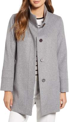 Fleurette Placket Front Wool Car Coat