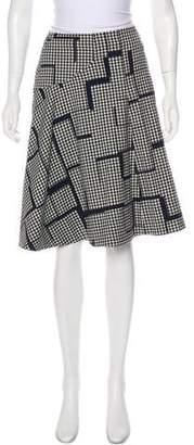 Lela Rose Wool-Blend Gingham Knee-Length Skirt