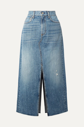 Rag & Bone Clyde Distressed Denim Midi Skirt - Mid denim