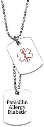 JCPenney FINE JEWELRY Personalized Stainless Steel Double Dog Tag Medical ID Pendant Necklace