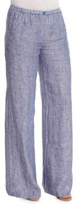 Nic+Zoe Drifty Linen Wide-Leg Pants, Indigo Mix, Petite