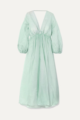 Kalita - Aphrodite Silk-organza Maxi Dress - Sky blue