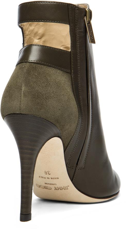 Jimmy Choo Troop Leather Booties in Military