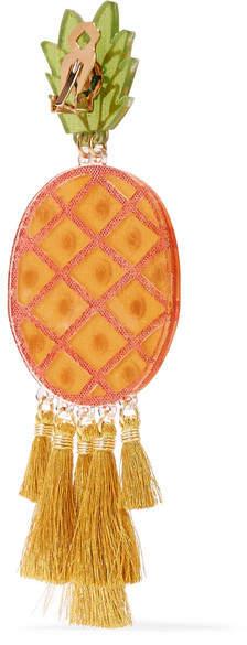 Mercedes Salazar Fiesta Piñas Tasseled Gold-plated, Resin And Crystal Clip Earrings - Orange