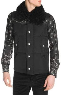DSQUARED2 Shearling-Collar Studded Puffer Vest