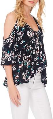 Anama Floral Cold-Shoulder Blouse